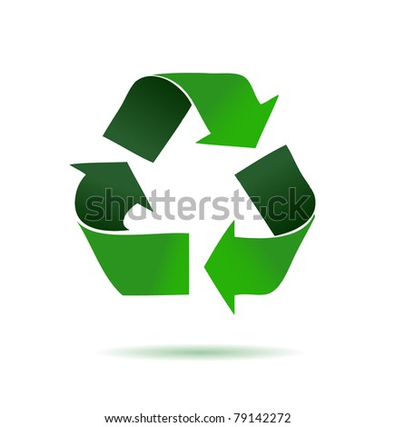 Green recycling logo over a white background. illustration desig Stock photo © alexmillos