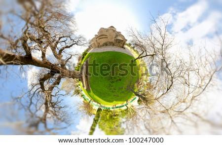 miniature globe with panagia angeloktisti church on top cyprus stock photo © kirill_m