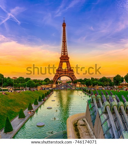 eiffel tower and trocadero fountains in the evening paris fran stock photo © anshar