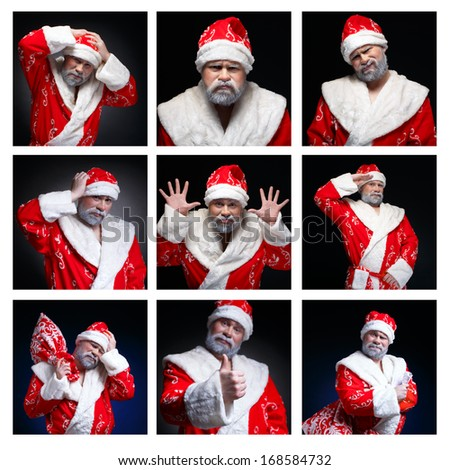 Collage of emotions Santa Claus. Angry and unhappy. And vice ver Stock photo © fotoatelie