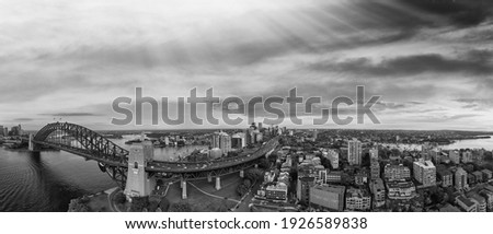 Dramatique panoramique coucher du soleil photo Sydney port Photo stock © backyardproductions