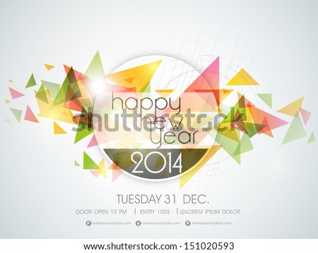 Celebration for new year 2014 colorful brochure template with st Stock photo © bharat