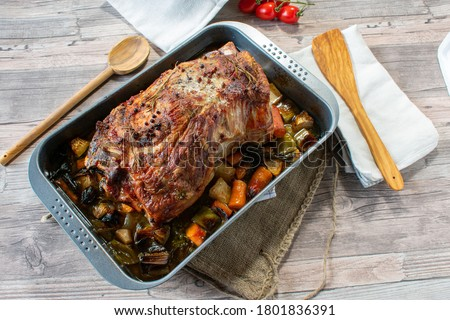 roast pork and vegetables Stock photo © M-studio