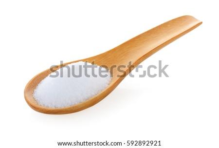 Mineral sal cuchara de madera aislado blanco Foto stock © natika