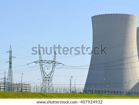 nuclear · usina · pôr · do · sol · laranja · fumar · industrial - foto stock © hanusst