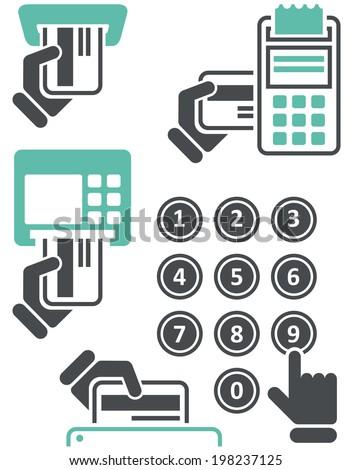 Atm eenvoudige iconen hand creditcard Stockfoto © Winner
