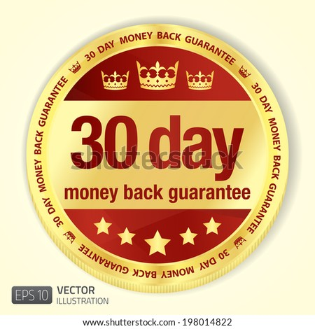 golden badge with red fill and 30 day money back guarantee title stock photo © liliwhite