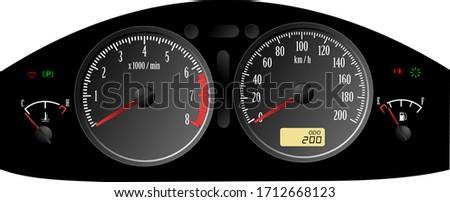 Speedometer. Accelerating Dashboard. Includes speedometer, tacho Stock photo © leonido
