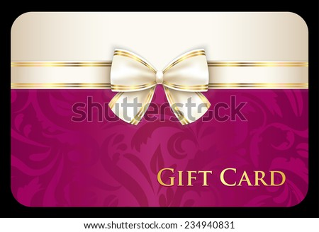 Scarlet gift card with damask ornament and cream diagonal ribbon Stock photo © liliwhite
