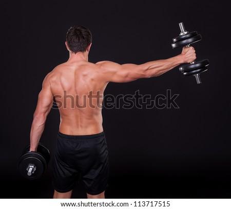 portré · izmos · erős · férfi · testépítő · áll - stock fotó © deandrobot