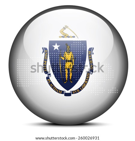 Map with Dot Pattern on flag button of USA Massachusetts State Stock photo © Istanbul2009