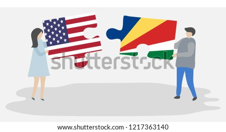 usa and seychelles flags in puzzle stock photo © istanbul2009