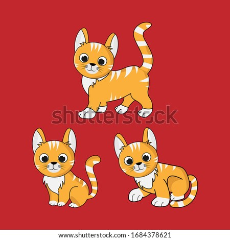 simple and minimal vector graphic cat symbol with sample text stock photo © feabornset