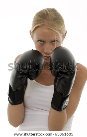 portre · genç · kafkas · kadın · boks - stok fotoğraf © ambro