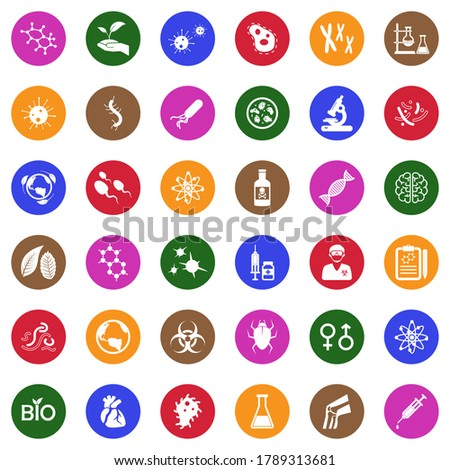 flat science and medicine laboratory bacteria circle icon with l stock photo © anna_leni