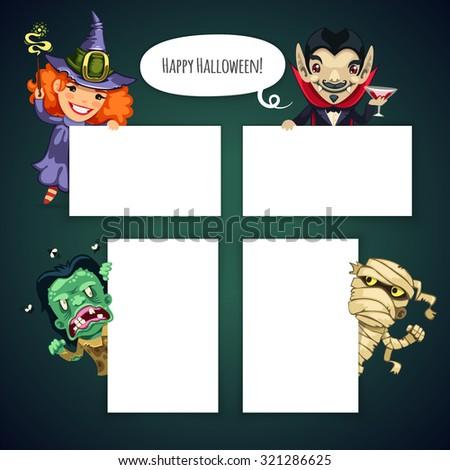 set of cartoon halloween characters behind a white empty sheet stock photo © voysla