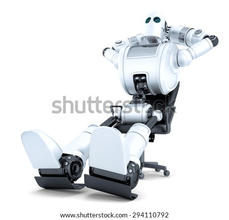 Robot relaxing in office chair. Isolated. Contains clipping path Stock photo © Kirill_M