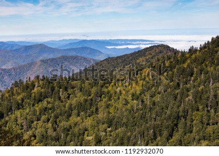 A wide view of the Great Smoky Mountains from the top of Clingman\'s Dome