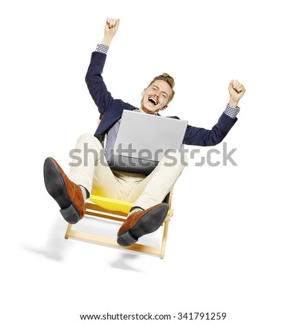 человека · сидят · синий · Председатель · ноутбука · оказанный - Сток-фото © filipw