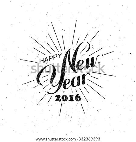 Happy New Year 2016 greeting card, poster. Vector holidays template hand lettering, snowflakes, stock photo © rommeo79