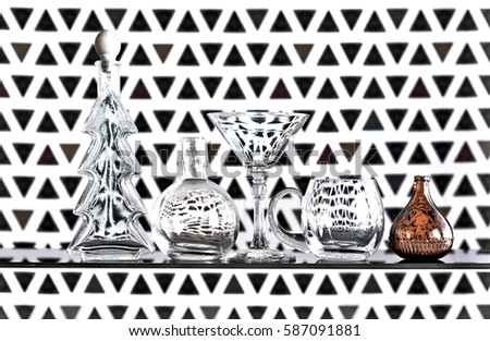 The bottle of wine,glass carafe and Christmas decoration  Stock photo © CaptureLight