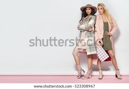 Beautiful, fashionable, glamorous, nice, attractive,pretty,nice,cheerful,smiling,parisian girl,woman stock photo © ANessiR