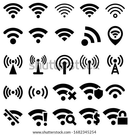 eletrônico · coleção · preto · sem · fio · internet · rede - foto stock © nemalo