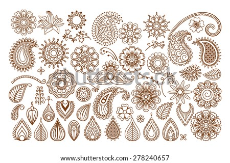 Mehndi lace, Indian Henna white tattoo round design or pattern Stock photo © RedKoala