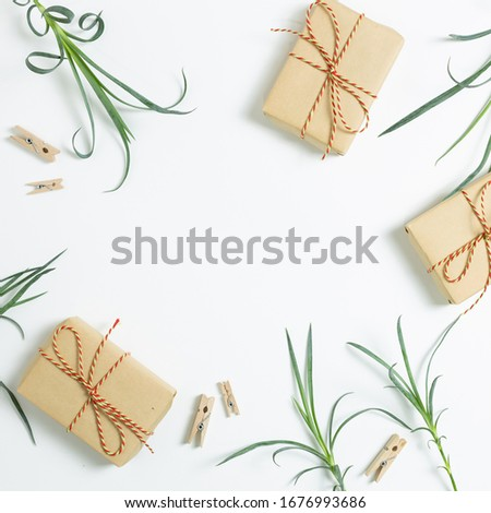 Stock photo: Flat lay colorful paper clips arrangement on kraft paper backgro