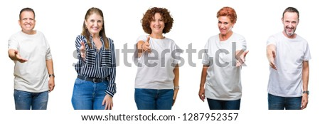 composite image of business people shaking hands on white backgr foto stock © wavebreak_media