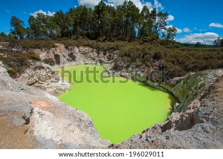 Devil's Bath volcanic crater in Wai-O-Tapu thermal area, New Zea stock photo © Hofmeester