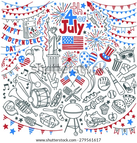 4th of July with stars over drawing flag - USA American Independ Stock photo © marinini