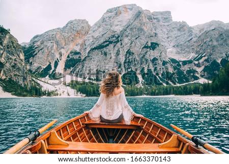 Сток-фото: фантазий · искусства · фото · красивая · девушка · сидят · лодка