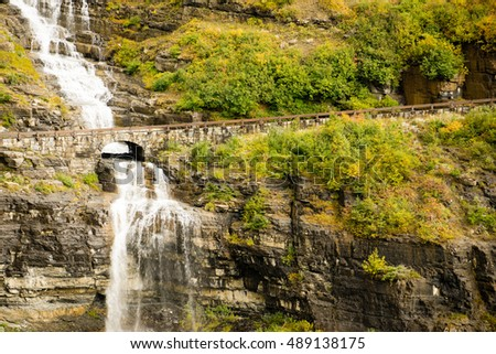 Waterfall Road Glacier National Park Montana Shale Glacier Melt Stock photo © cboswell