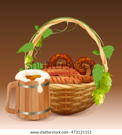 Wooden beer mug. Wicker basket with pretzels and grilled sausages Stock photo © orensila