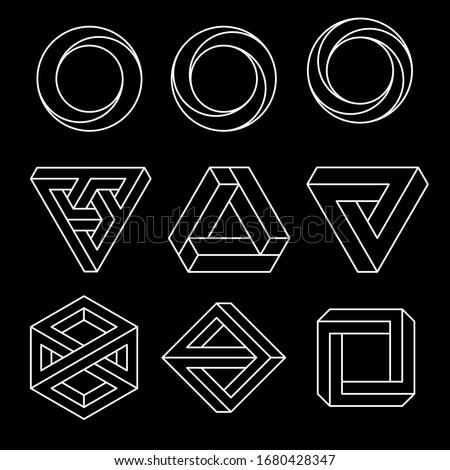 ストックフォト: 三角形 · アイコン · 不可能 · 錯覚 · 孤立した