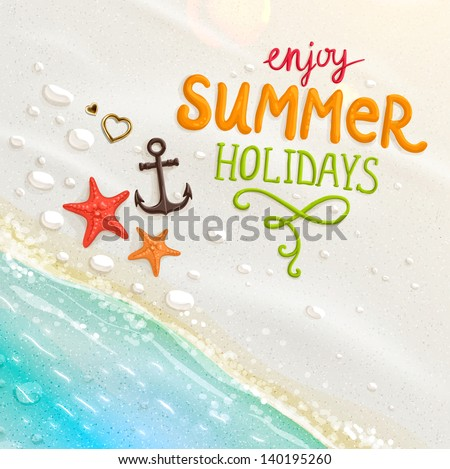 vector summer holiday design with anchor on blue sea background stock photo © articular