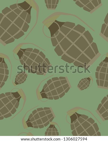 Green grenade seamless pattern. Background military projectile.  Stock photo © popaukropa