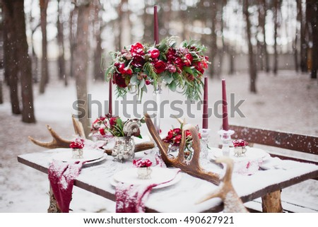 festive christmas or wedding table with red napkins on a white t stock photo © kayros