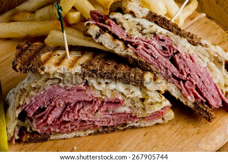 Close-up of tasty rye bread sandwiches with roast meat and vegetable Stock photo © janssenkruseproducti
