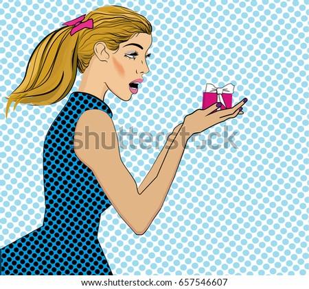 sorprendido · arte · pop · mujer · cómico · bocadillo · pin - foto stock © balasoiu