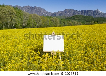 Blank painter artist canvas on easel with mountain in background Stock photo © stevanovicigor