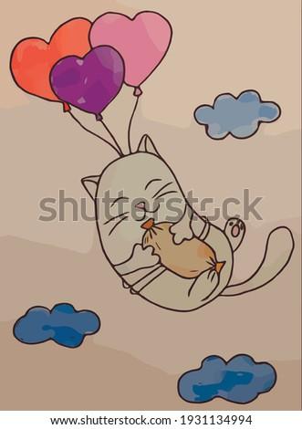Kat wolk patroon zachte pluizig huisdier Stockfoto © popaukropa