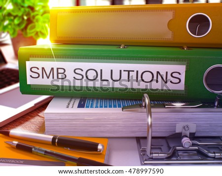 green office folder with inscription smb solutions 3d rendering stock photo © tashatuvango