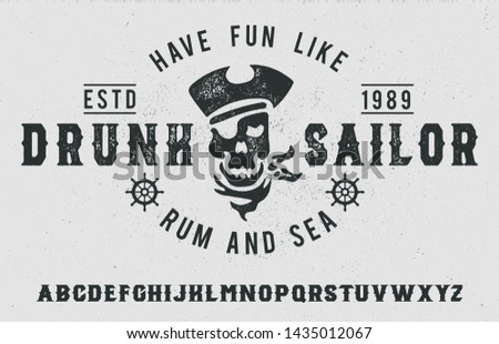 Ingesteld vintage handgemaakt piraat rum Stockfoto © JeksonGraphics