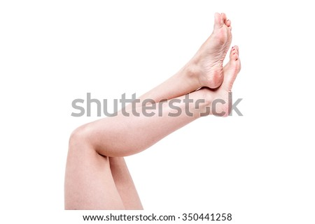female legs with overdried dehydrated dry skin on heels closeup Stock photo © Traimak