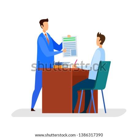 Działalności konsultant dokumentów asystent szef wektora Zdjęcia stock © popaukropa