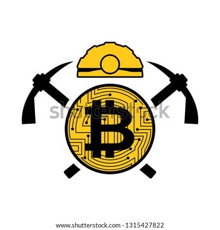 mineração · bitcoin · logotipo · emblema · capacete · moeda - foto stock © maryvalery