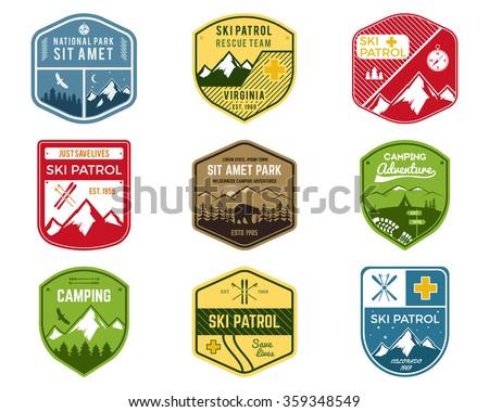 Escursioni club badge perlustrare avventura campo Foto d'archivio © JeksonGraphics