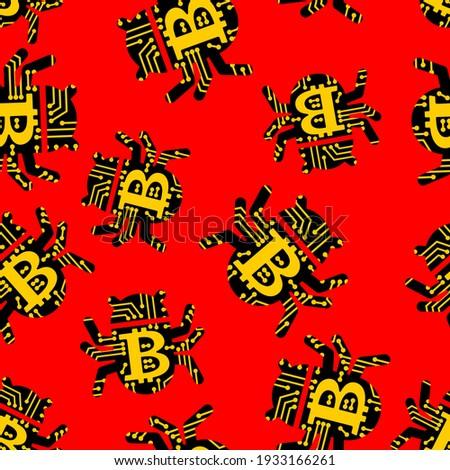 Bitcoin virus informatique monnaie web bug vecteur Photo stock © popaukropa